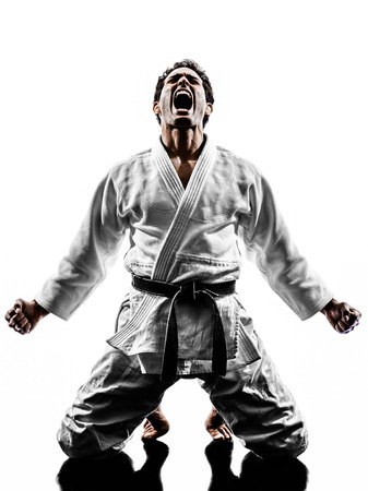one judoka fighter man in silhouette on white background photo