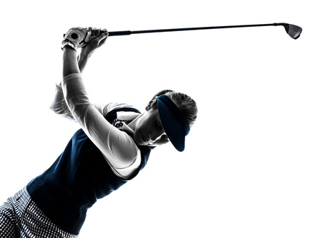woman golfer golfing silhouette in white background
