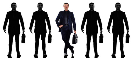 withe: business man people standing in a row in silhouette shadow withe background