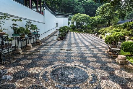 walled: bonsai garden Kowloon Walled City Park in Hong Kong