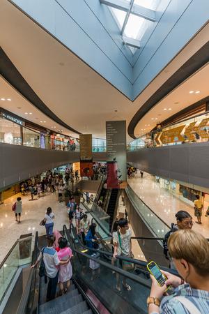 lantau: Tung Chung Wan, Hong Kong, China- June 11, 2014: people shopping at the CityGate Outlet shopping mall in Lantau island near the airport