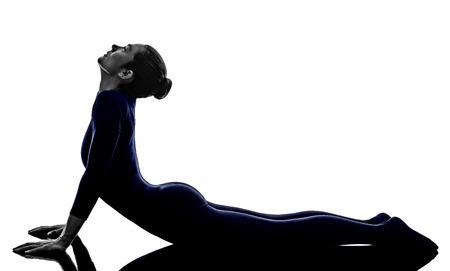 asanas: woman exercising bhujangasana cobra pose yoga silhouette shadow white background
