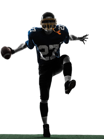 football jersey: one  american football player man triumphant in silhouette studio isolated on white background