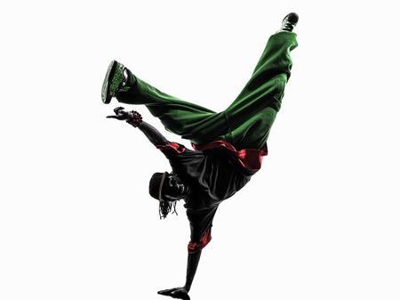 break dance: one hip hop acrobatic break dancer breakdancing young man handstand silhouette white background Stock Photo