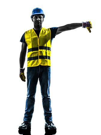 one construction worker signaling with safety vest lower boom silhouette isolated in white background Imagens