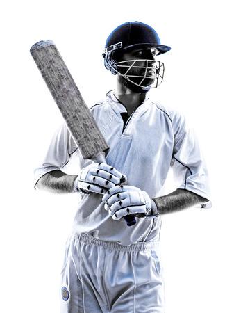 白い背景にシルエット影のクリケット選手の肖像画 写真素材