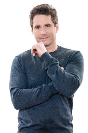 één man volwassen knappe portret studio witte achtergrond Stockfoto