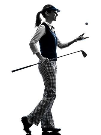 silueta humana: Silueta de la mujer golfista golf en el fondo blanco