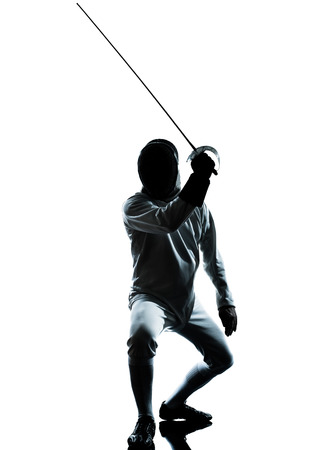 fencers: one man fencing silhouette in studio isolated on white background