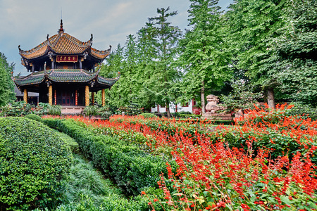 Chengdu, China - September 18, 2014: Garden of the Qingyang Gong taoist temple  in Chengdu Sichuan China photo