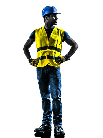 construction worker: one construction worker looking away with safety vest silhouette isolated in white background