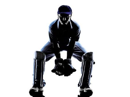 Cricket speler ontvanger in silhouet schaduw op witte