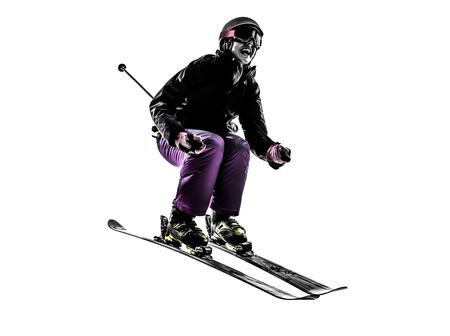 흰색 실루엣에 점프 한 여자 스키어 스키
