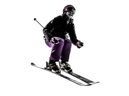 one  woman skier skiing jumping in silhouette on white Imagens - 34232159