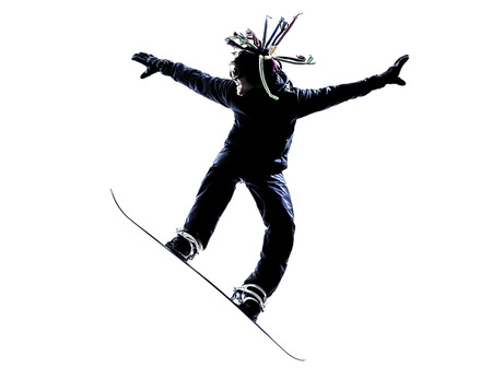 stunts: one  young snowboarder man in silhouette white background