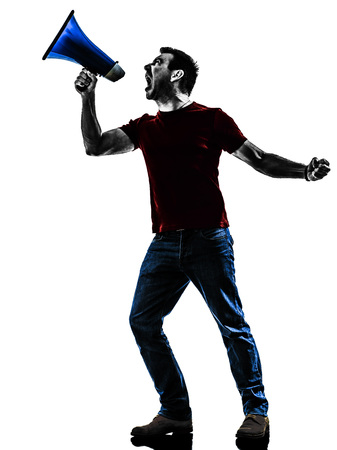 protestor: one man protestor angry protesting with megaphone silhouette isolated in white background Stock Photo