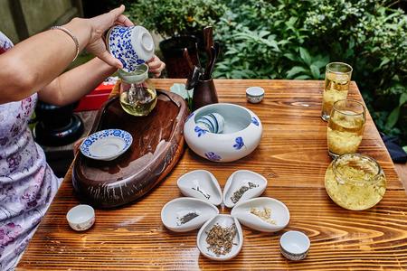 Tee-Zeremonie in Du Fu Reethaus in Chengdu Sichuan China Standard-Bild - 34419942