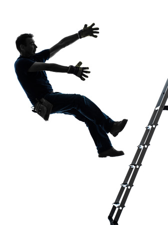 falls: one manual worker man falling from ladder in silhouette on white background