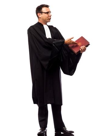 suplicando: un hombre suplicando abogado en el estudio aislado sobre fondo blanco