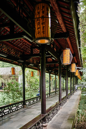 thatched: Du Fu thatched Cottage park in honour of the Tang Dynasty poe in Chengdu Sichuan China