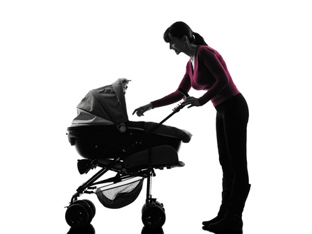 prams: one  woman prams baby silhouette on white background
