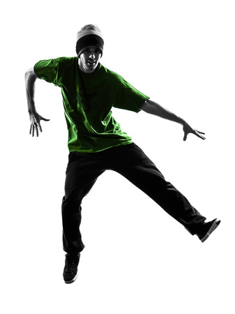 hip hop man: one  young acrobatic break dancer breakdancing man in silhouette white background