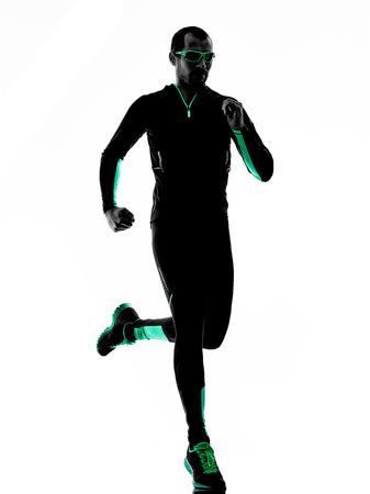 hombre deportista: un hombre corredor basculador marcha trotar en silueta aislados sobre fondo blanco