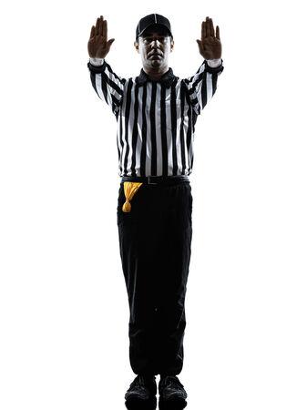 american football scheidsrechter gebaren in silhouet op een witte achtergrond