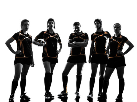 woman white background: rugby women players team in silhouette isolated on white backround