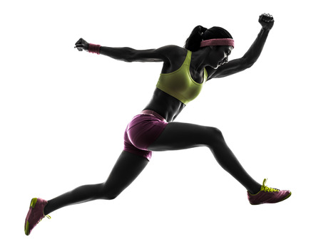 athlete woman: one  woman runner running jumping in silhouette on white background