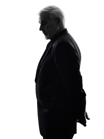shadow silhouette: One Caucasian Senior Business Man Silhouette White Background
