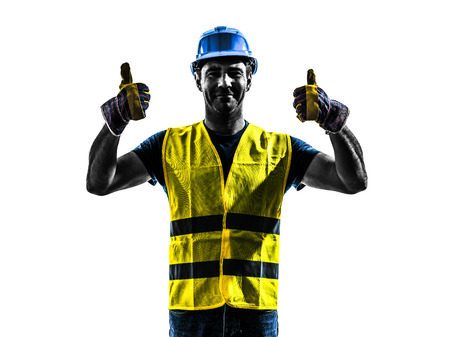 one construction worker signaling up silhouette isolated in white background Imagens