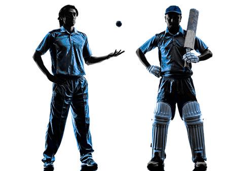 twee Cricket spelers in silhouet schaduw op witte achtergrond Stockfoto