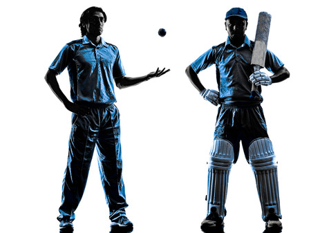 two Cricket players in silhouette shadow on white background photo