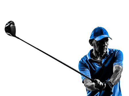 golfing: one man golfer golfing in silhouette studio isolated on white background Stock Photo