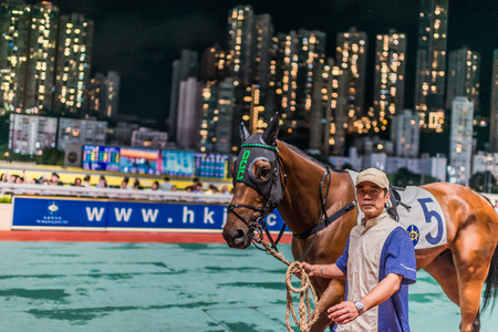 carreras de caballos: Happy Valley, Hong Kong, China-05 de junio 2014: carrera de caballos en el hipódromo de Happy Valley