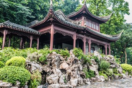 walled: pagoda temple Kowloon Walled City Park in Hong Kong