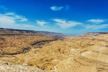panoramics: kings way desert road Dead Sea in Jordan Stock Photo