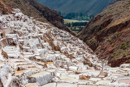 cuzco: Maras salt mines in the peruvian Andes at Cuzco Peru