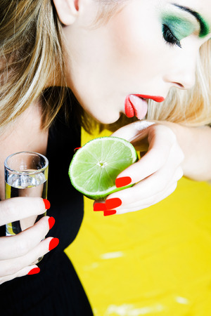 beautiful woman portrait: one beautiful woman portrait tequilla shot glass