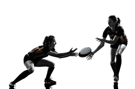 rugby women players team in silhouette isolated on white backround Imagens - 34677678