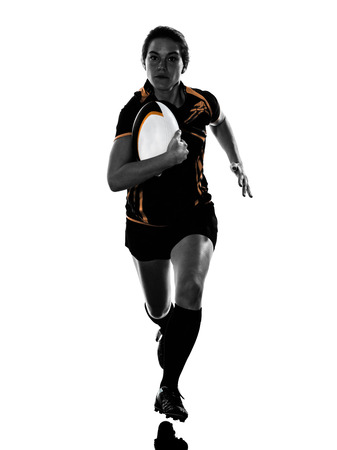 one rugby woman player in silhouette isolated on white backround Фото со стока