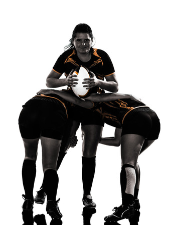 rugby player: rugby women players team in silhouette isolated on white backround