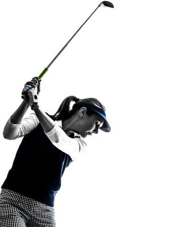 白い背景の女性ゴルファーのゴルフ シルエット