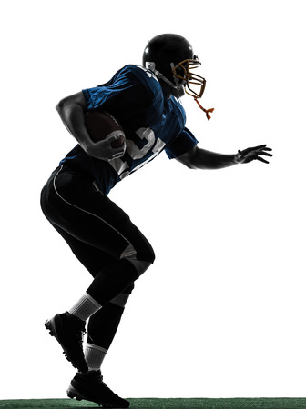 one  american football player man running in silhouette studio isolated on white background photo