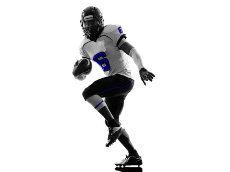 one american football player in silhouette shadow on white background