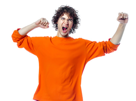 one young man  strong screaming happy portrait in studio white background photo