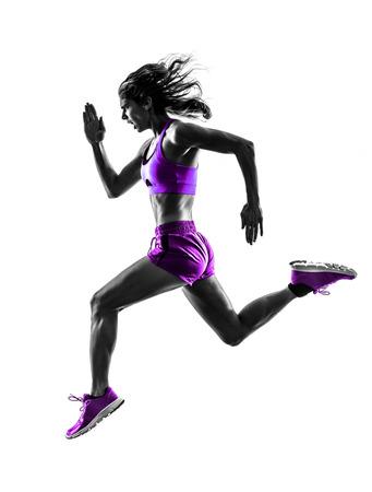 silueta humana: una mujer cauc�sica basculador running trotar en la silueta del estudio aislada en el fondo blanco