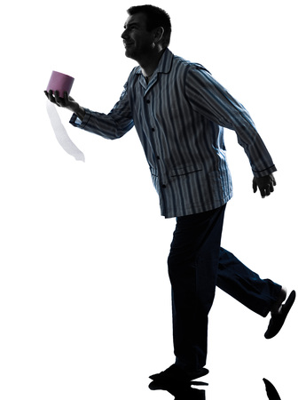 runs: one man sick with Toilet paper in pajamas silhouettes on white background