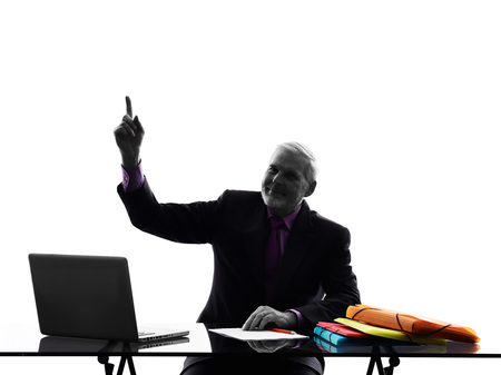 senior business man: One Caucasian Senior Business Man Pointing Up Silhouette White Background Stock Photo